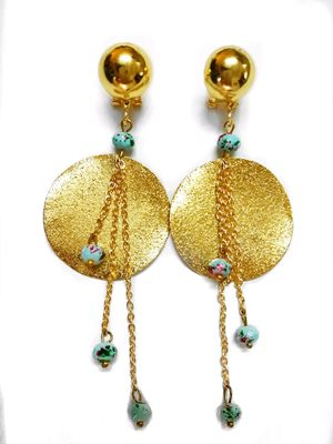 Printed Gold Statement Earrings