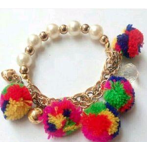 Multicoloured Pom Pom Bracelet