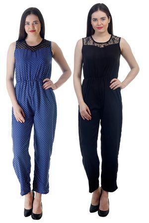 Westrobe Womens Black Plain And Nevy Blue Polka Dot Printed Jumpsuit Combo