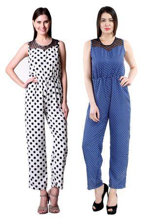 Westrobe Womens White Polka Dot Printed And Navy Blue Polka Dot Printed Jumpsuit Combo
