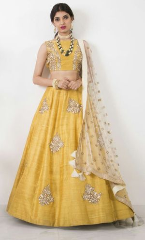 Fabrica Shoppers Diwali Special designer Diwali special yellow lehengas