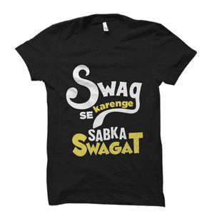 Swag Se Karenge Sabka Swagat Black Tshirt