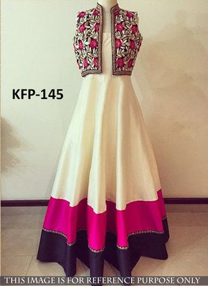 Buy Banglori Silk Cream & Pink Long Gown