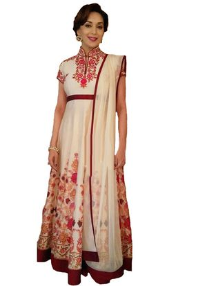 Madhuri Dixit White Georgette Gown