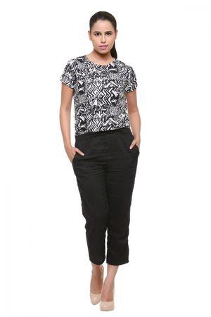 Black abstract printed crepe jumpsuit
