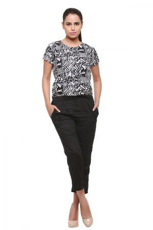 Naari Black rayon/crepe printed jumpsuit