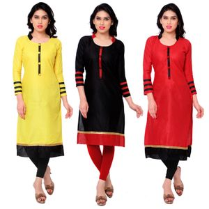 Buy Big Combo OFFER Cotton Pink kurti  (Black, Red, Yellow Kurti)