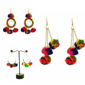 Combo of 3 pairs of Pom Pom Earrings