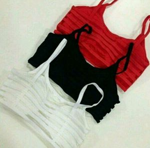 Top Selling Three Sports Bra Bralette Combo Online Deal ( Red White and Black)