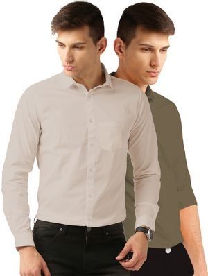 Van Galis Fashion Wear Cream And Dark Green Formal Shirt for Men pack of - 2