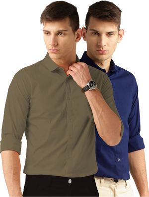 Van Galis Fashion Wear Dark Green And Royal Blue Formal Shirt for Men pack of - 2