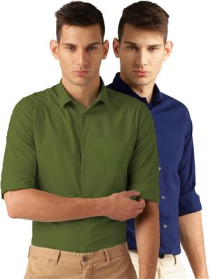 Van Galis Fashion Wear Green And Royal Blue Formal Shirt For Men Pack Of - 2