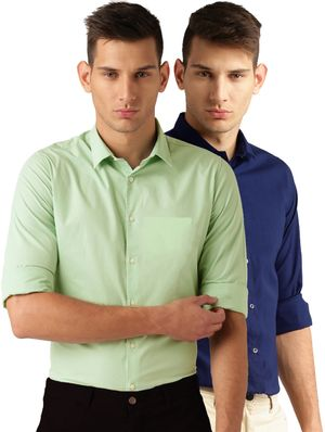 Van Galis Fashion Wear Light Green And Royal Blue Formal Shirt For Men Pack Of - 2
