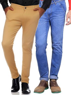 Van Galis Fashion Wear Multicoloured Combo of  2  Trouser With Jeans For Men_60