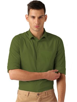 VanGalis Fashion Wear Green Formal Shirt For Men