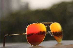 Aviator Aqua Orange Mirror Glass with Golden Frame Sunglasses