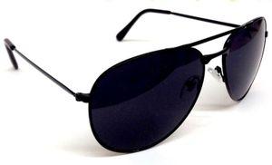 Aviator Sunglasses Black Glass Black Frame Aviator