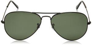 Aviator Green Glass Black Frame Sunglasses