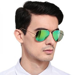 Royal and luxurious look stylish Sunglasses Aviator Green Mirror Golden Frame