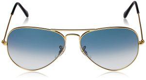 Aviator Blue Shade Glass Golden Frame Sunglasses