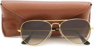 Aviator Brown Shade Glass Golden Frame Sunglasses