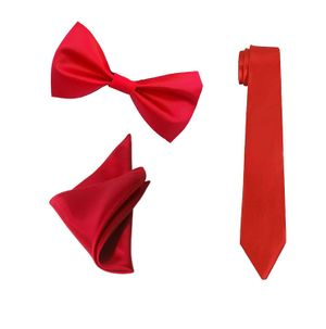 ShopLuvOnline Combo of Red Slim Satin Tie, Bow and Pocket Square