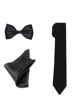 ShopLuvOnline Combo of Black Satin Slim Tie, Bow and Pocket Square