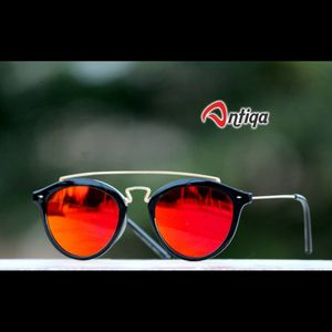 Antiqa Stylish Round Sunglasses Orange Mercury Goggles (AQ-SG-RD-A-0006)