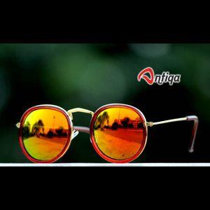 Antiqa Stylish Round Sunglasses Yellow Mercury Goggles (AQ-SG-RD-A-0021)