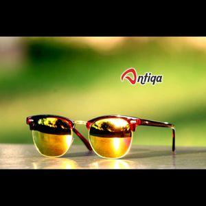 Antiqa Stylish ROUND Sunglasses Yellow Mercury Goggles (AQ-SG-RD-B-0005)