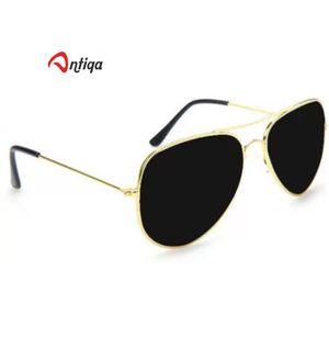 Antiqa Stylish Sunglasses Full Black Aviator Golden Frame Goggles Unisex (AQ_SG_1020)