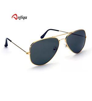 Antiqa Stylish Sunglasses Black Aviator Golden Frame Goggles (AQ_SG_1021)
