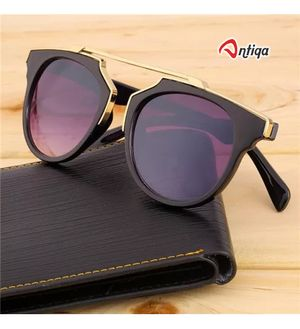 Antiqa Stylish Sunglasses Black Half Round Goggles For Unisex (AQ_SG_1044)