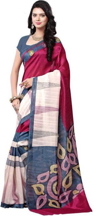 Ethnic Fire Pink Bhagalpuri Silk Contemporary Saree