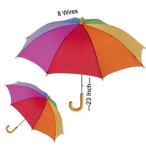 Multi Coloured Rainbow U Shaped Umbrella For School Going Kids