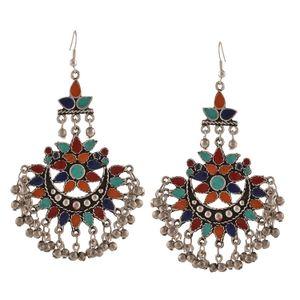 Afghani Tribal Dangler Hook Chandbali Earrings