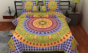 Priyansh Double bedsheets with two pillow cover in animal print PR-327