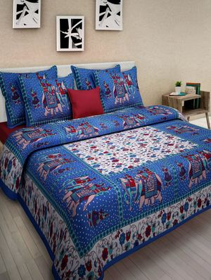 Priyansh Double bedsheets with two pillow cover in Ethnic PR-290