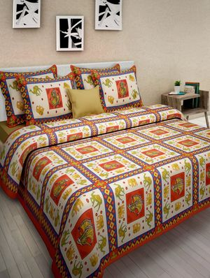 Priyansh Double bedsheets with two pillow cover in animal print PR-288