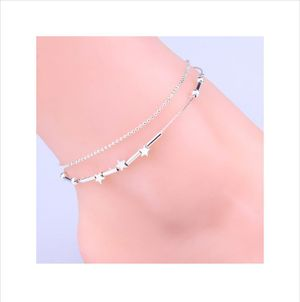 Little Star Pentagram Silver Plated Anklets Foot Decorative Chain For Women Gift By DC