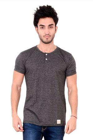Cotton charcoal grey botton down t-shirts for men