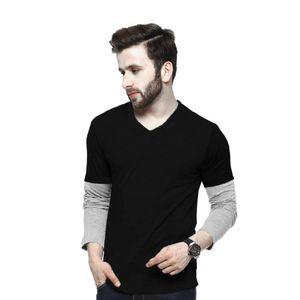 Lime V Neck Full Sleeve Black-Grey Cotton T-Shirts For Men Vneck-Black-Grey