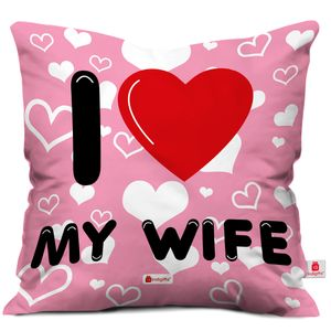 Indigifts Valentine Day Gift I Love My WIFE Quote Seamless Heart Pattern Pink Cushion Cover 12x12 inch with Filler - Gift for Girlfriend - Wife - Her - Birthday, Anniversary, Spouse