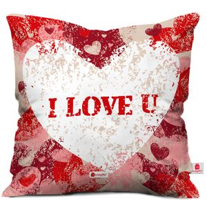 Indigifts Valentine Day Gift I love You Quote Textured Painted Hearts Pink Cushion Cover 12x12 inch with Filler - Gift for Girlfriend - Boyfriend - Birthday, Wife, Husband, Anniversary