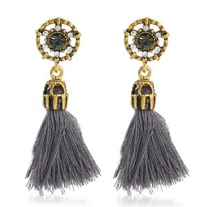 The Cut Fashion  Jewellery Gold Plated Glossy Finished Gray Stone Gray Tassels Hanging Earrings For girls/women -KKBR37