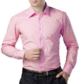 New Fancy Pink Cotton Men Formal Shirt
