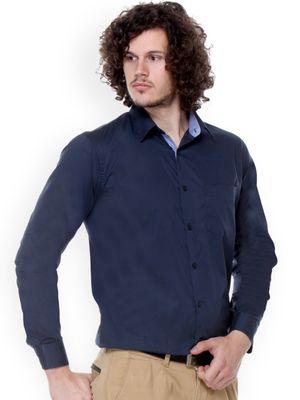 New Fancy Dark Blue Cotton Men Formal Shirt