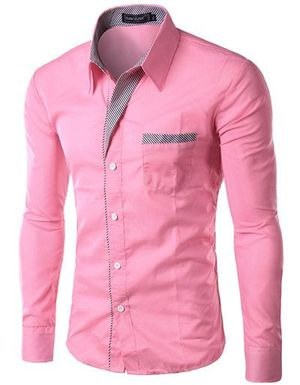 New Fancy Pink Cotton Formal men Shirt