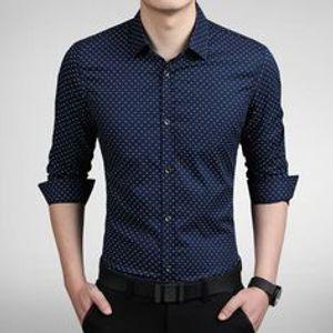 New Fancy Blue Cotton Formal Men Shirt