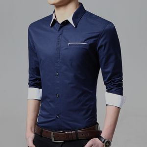 New Fancy Dark Blue Cotton Formal Men Shirt